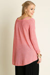 Coral Long Sleeve Cutout Shoulder Top