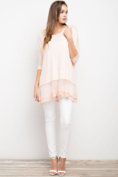 Blush Lace Trim Knit Tunic (final sale)