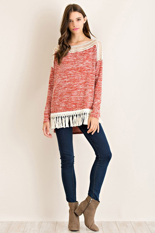 Brick Melange Crochet Fringe Tunic (final sale)