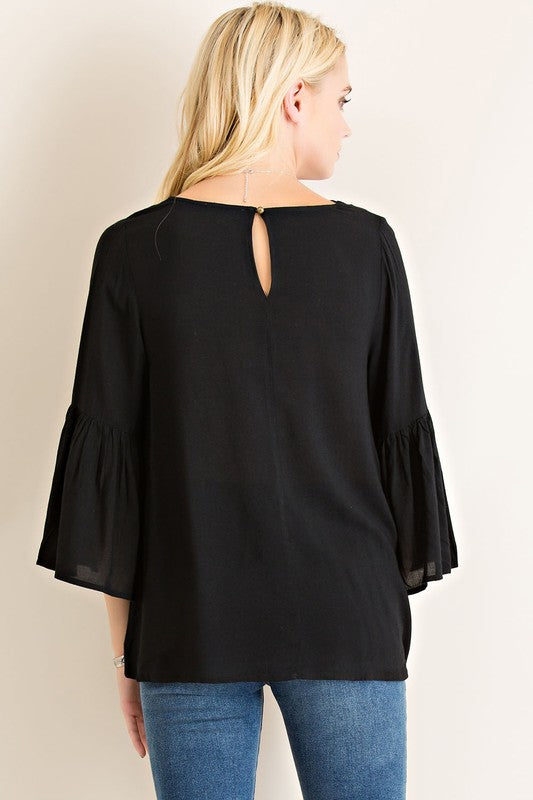 Black Strappy Ruffle Sleeve Top (final sale)