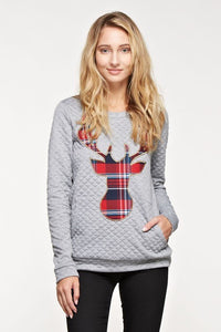 Grey Quilted Reindeer Embroidered Sweatshirt