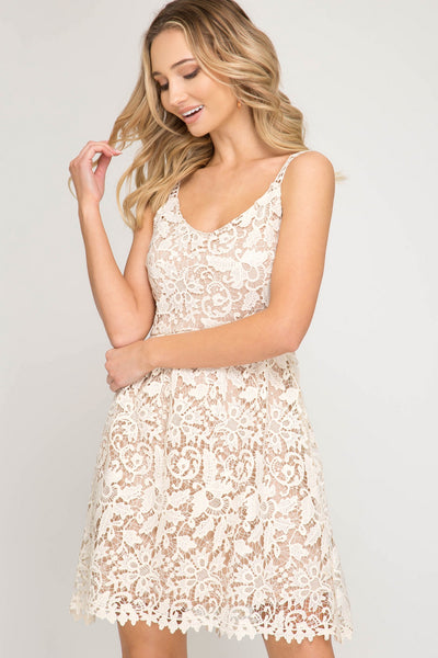 Cream Crochet Lace Fit Flare Dress (final sale)
