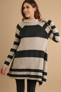 Taupe/Black Striped Cowl Neck Sweater