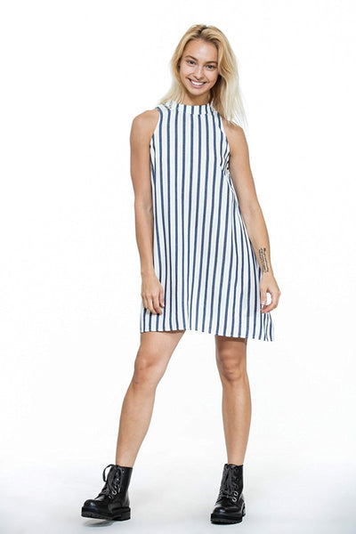 Navy Mock Neck Sleeveless Stripe Dress