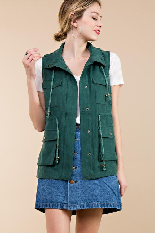 Green Cargo Hooded Vest