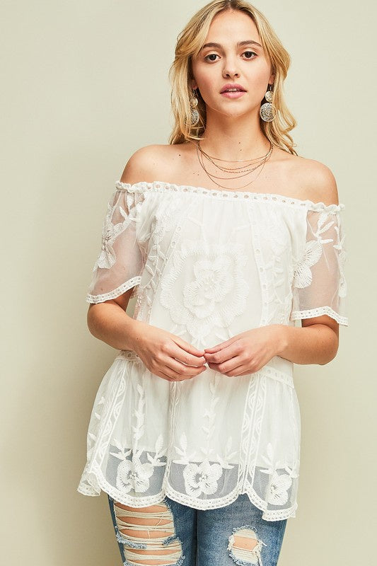 Off White Crochet Mesh Off Shoulder Top
