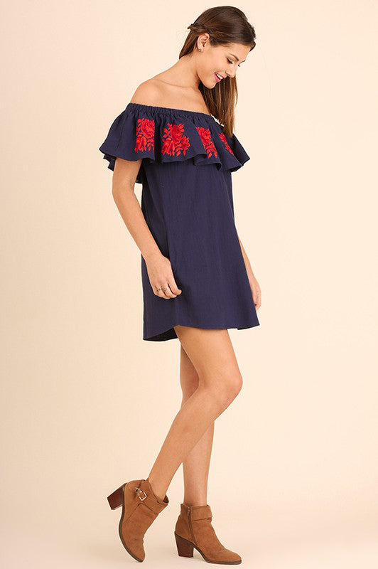 Navy Off Shoulder Embroidered Layered Dress