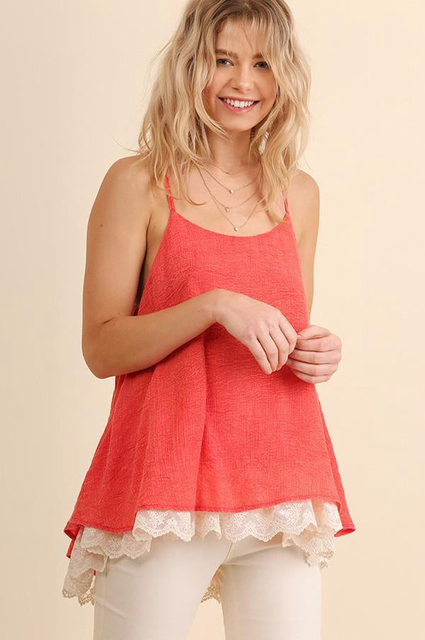 Coral Washed Lace Trim Tank (final sale)