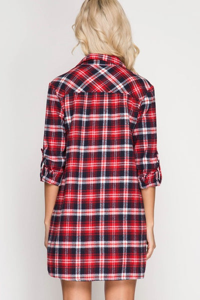 Red Lace Up Plaid Dress (final sale)