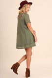 Olive Floral Embroidered A-Line Dress