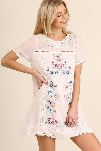 White Floral Embroidery A-Line Dress