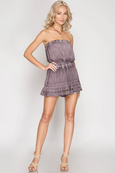 Dusty Purple Strapless Mineral Washed Romper (final sale)