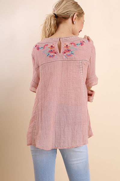 Rose Floral Embroidery Short Sleeve Top