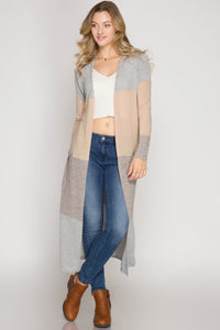 Light Taupe Color Block Maxi Cardigan