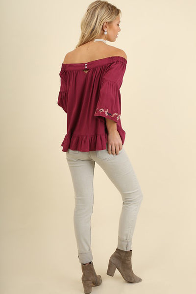 Burgundy Off Shoulder Embroidered Top