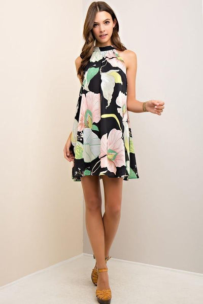 Black Floral Halter Style Dress (final sale)