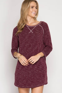 Wine Brushed Knit Shift Dress