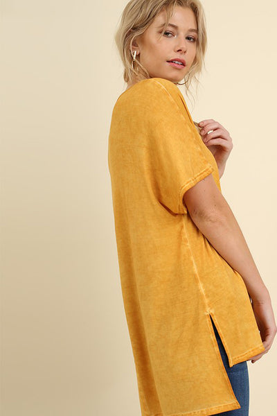 Mustard Washed Cross Neck Tee (final sale)