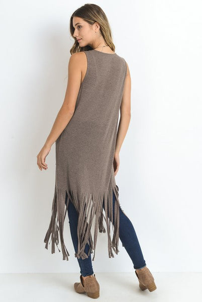 Mocha Fringe Pocket Vest (final sale)