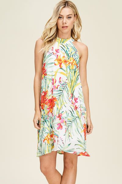 Ivory Floral Halter Neck Shift Dress