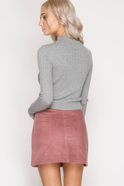Taupe Corduroy Button Mini Skirt (final sale)