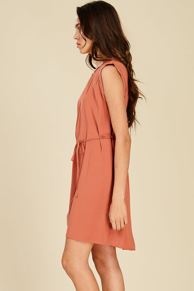 Salmon Boat Neck Strap Detail Dress