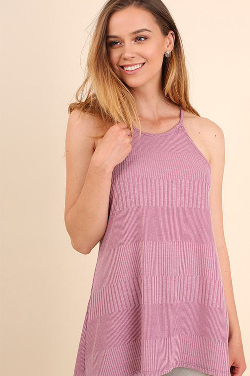 Ribbed Strappy Round Neck Top