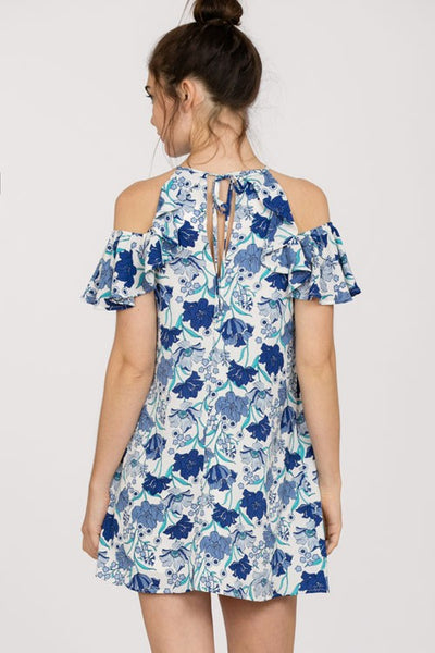 Blue Floral Cold Shoulder Dress (final sale)