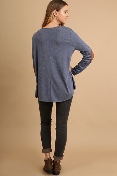 Navy Drawstring Elbow Patch Top