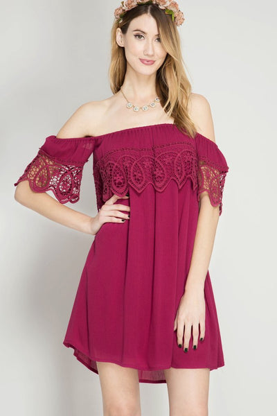 Maroon Lace Off Shoulder Dress (final sale)