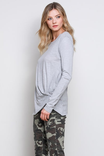 Grey Side Knot Long Sleeve Top (final sale)