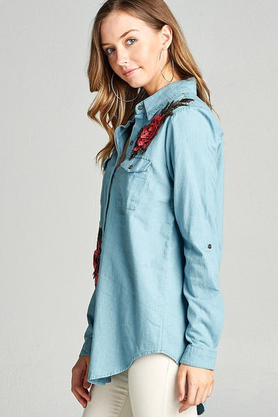 Chambray Embroider Patch Button Down Tunic