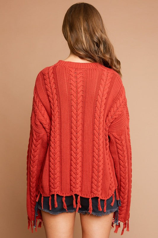 Burnt Orange Frayed Cable Knit Sweater (final sale)