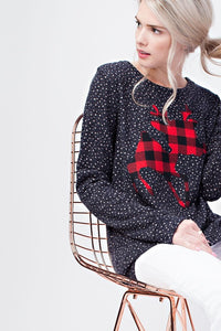 Black Dotted Reindeer Sweater Tunic