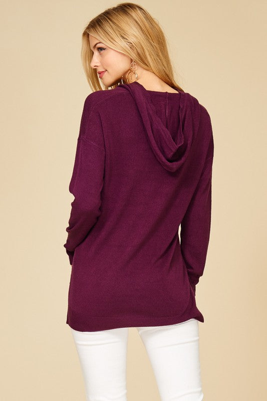 Burgundy Soft High Low Hoodie