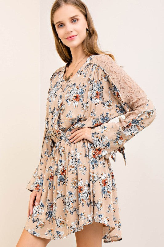 Taupe Floral Crochet Babydoll Dress (final sale)