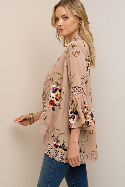 Taupe Floral Crochet Kimono Cardigan (final sale)