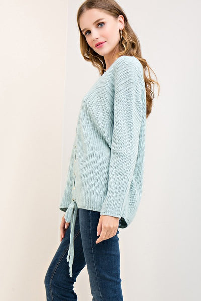 Seafoam Lace Up Closure Sweater (final sale)