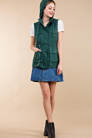 Green Cargo Hooded Vest (final sale)
