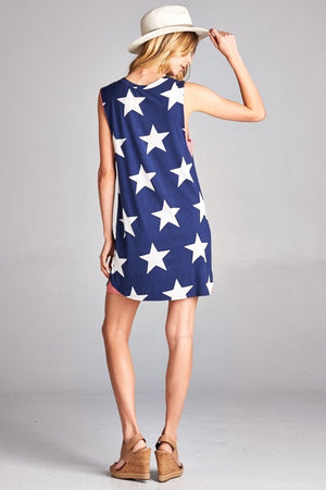 Red Star Print Sleeveless Dress (final sale)