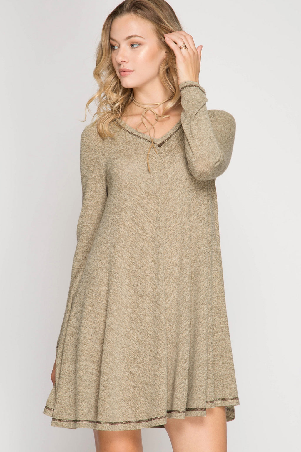 Oatmeal Long Sleeve Hacci Swing Dress