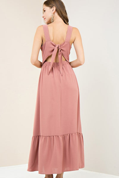 Blush Tieback Ruffle Maxi Dress
