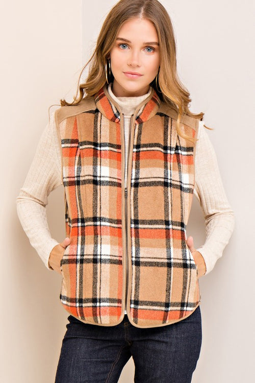 Camel Plaid Zipper Vest