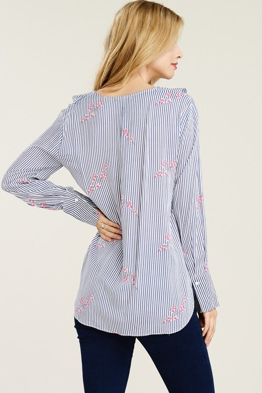 Floral Striped Challi Ruffle Blouse