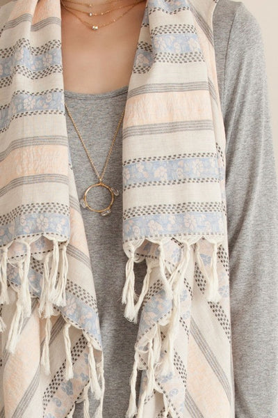 Peach Floral Striped Tassel Vest
