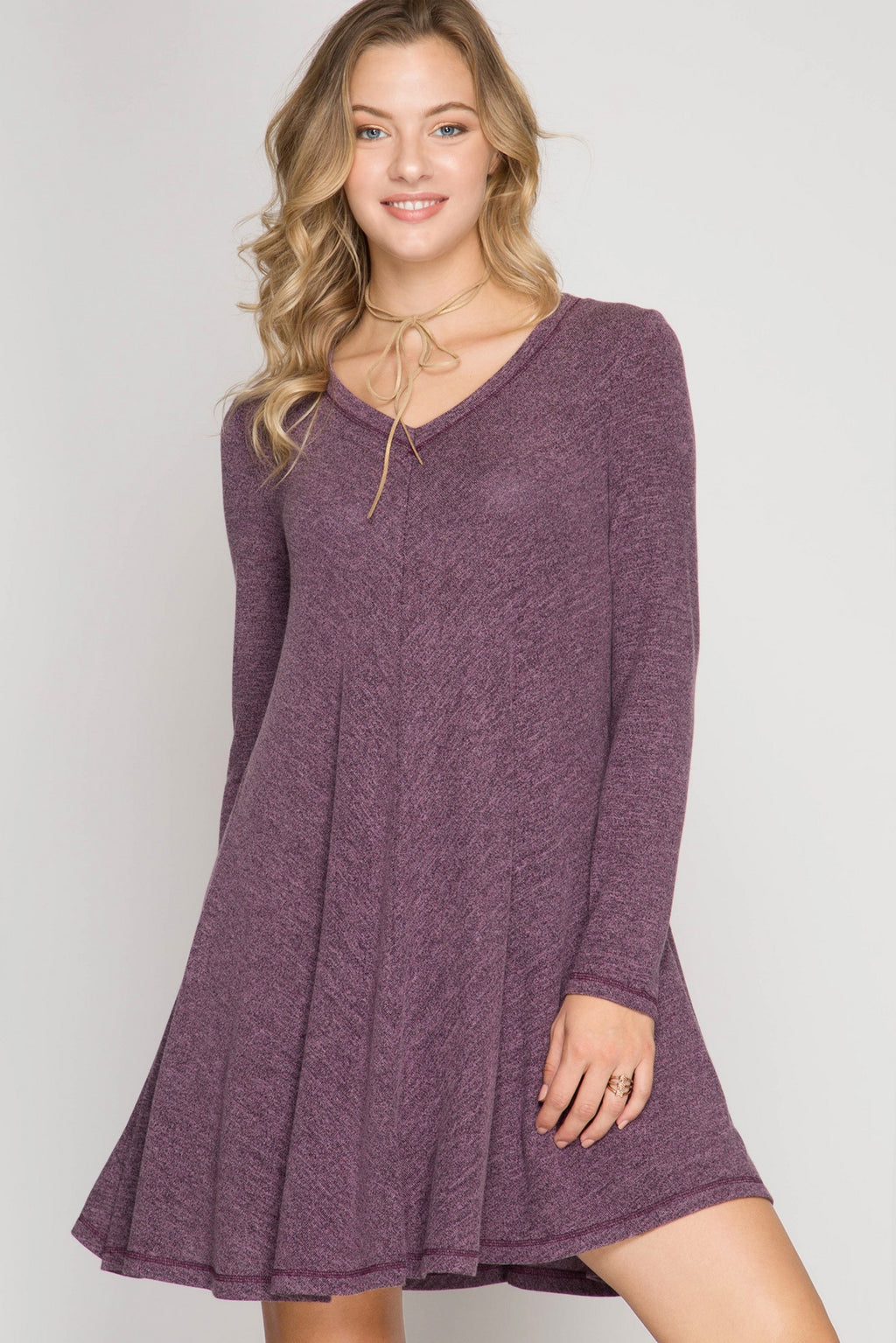 Eggplant Long Sleeve Hacci Swing Dress
