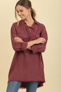 Burgundy Garment Dyed Drawstring Top