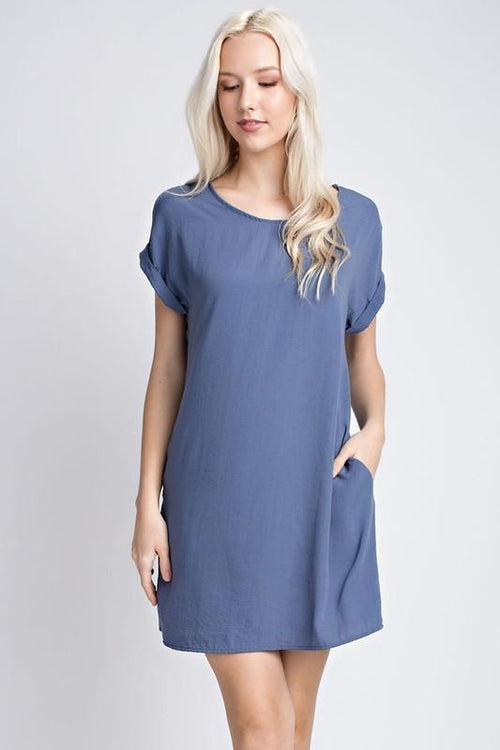 Blue Satin Short Sleeve Dress (final sale)