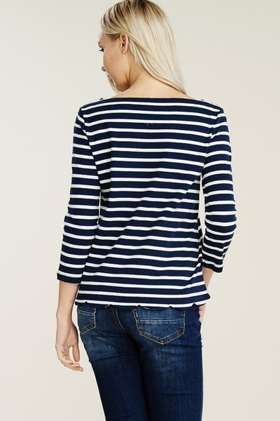 Navy Scalloped 3/4 Sleeve Striped Top