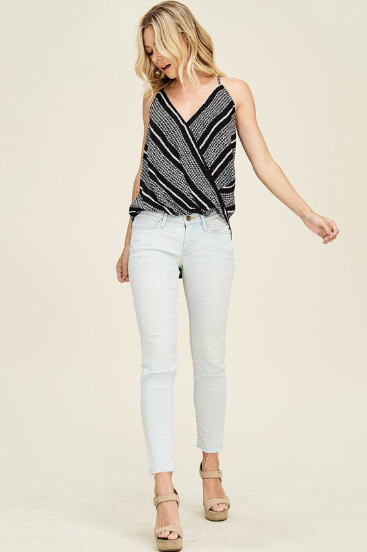 Black Geo Print Surplus Wrap Strappy Top